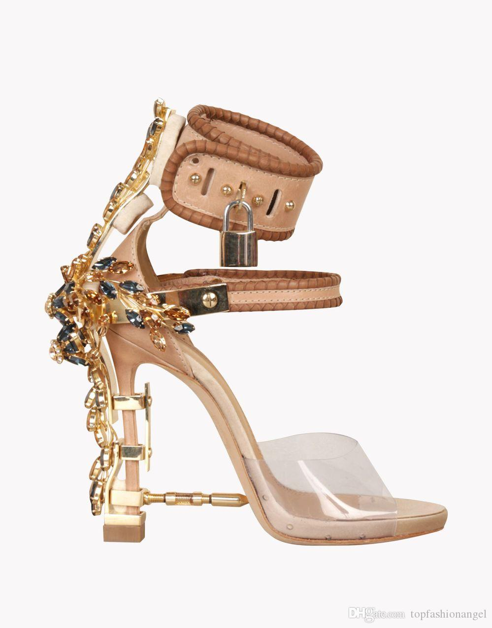 top fashion runway colorful crystals beaded sandals padlock spiked high heels dress sandals women pumps summer pvc celebrity party shoes