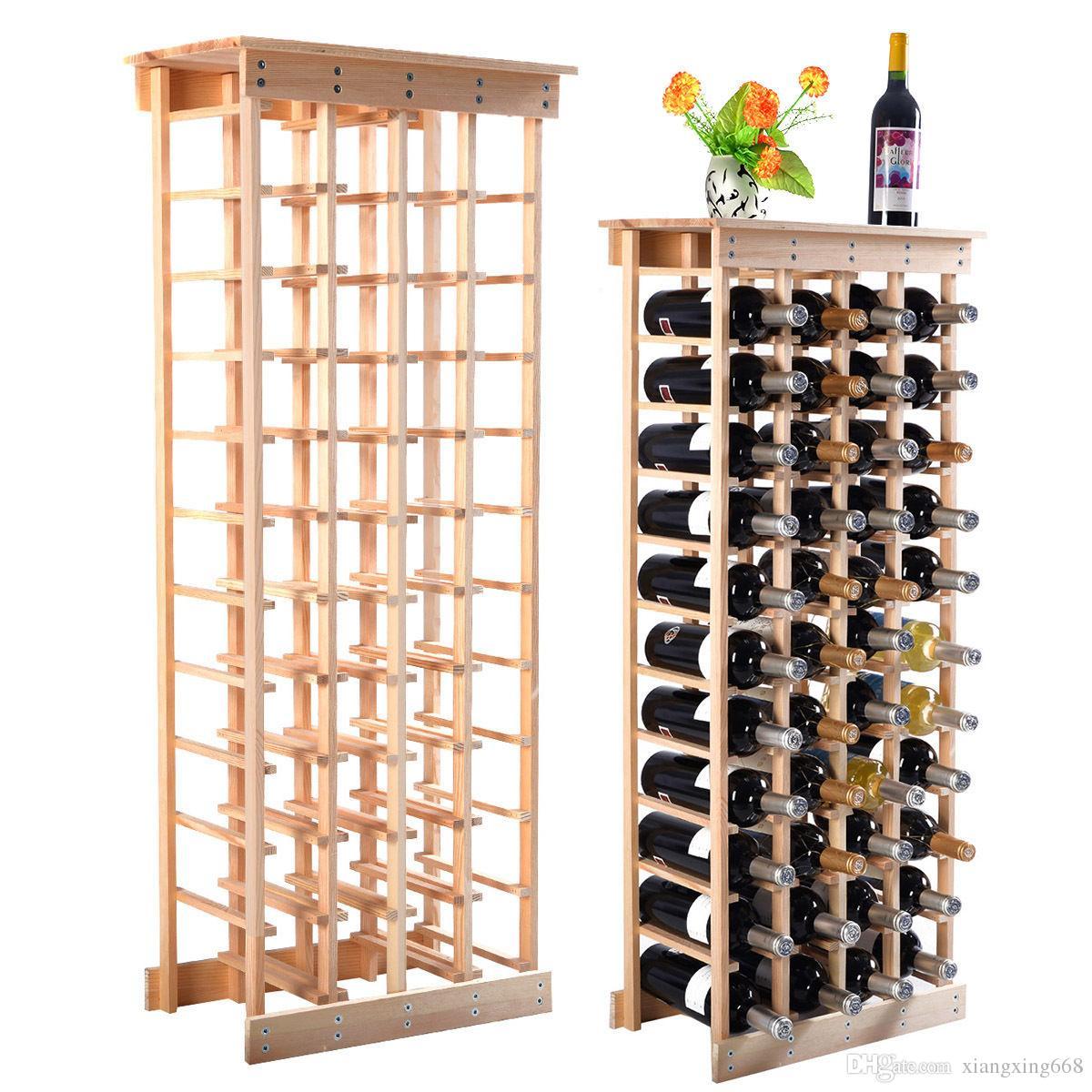 Großhandel Neue 44 Flaschen Holz Weinregal Lagerung Display Regale ...
