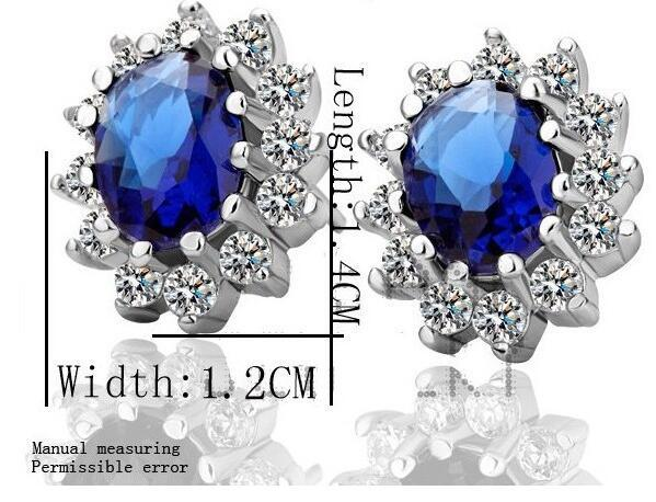 Wholesale Price 18K White Gold Plated Princess Blue Sapphire Crystal Necklace Earrings Jewelry Sets Wedding Jewelry Women Acessories