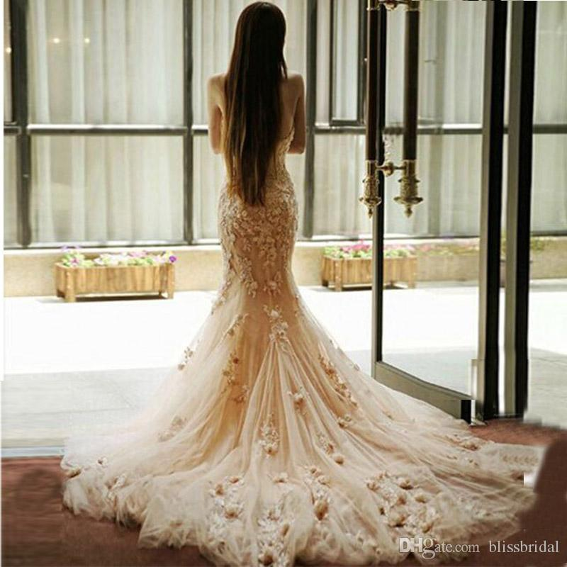 ac870d5a654d3 Delicate 3D Floral Appliques Lace Pink Mermaid Wedding Dress Sweetheart  Neck Tulle Formal Dresses Sweep Train Hand Made Flowers Bridal Gowns Lace  Wedding ...