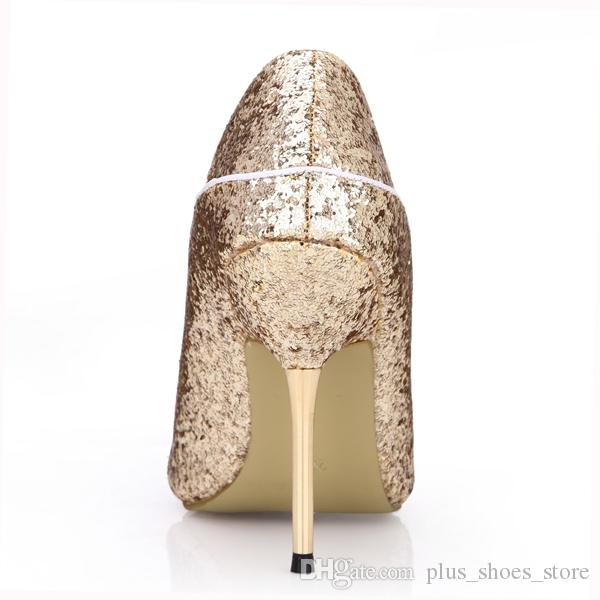 Gold Sequined Women Pumps Slip On Party Shoes Wedding Shoes Metal Heels Peep Toe Real Image Pump Zpatillas Mujer Zapatos De Mujer