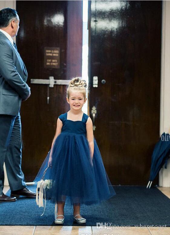 2019 Toddler Beautiful Flower Girls Vestidos Barato Azul Marino Tul vestido de bola Verano Niños Vestidos del concurso