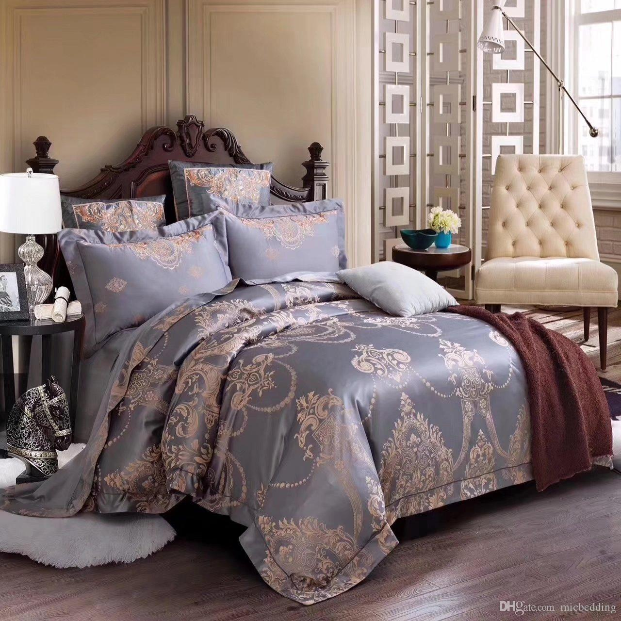 satin jacquare embroidery designs feeling soft color luxuarant and noble bed sheet bedding set 100%cotton blue beige purple color 1756