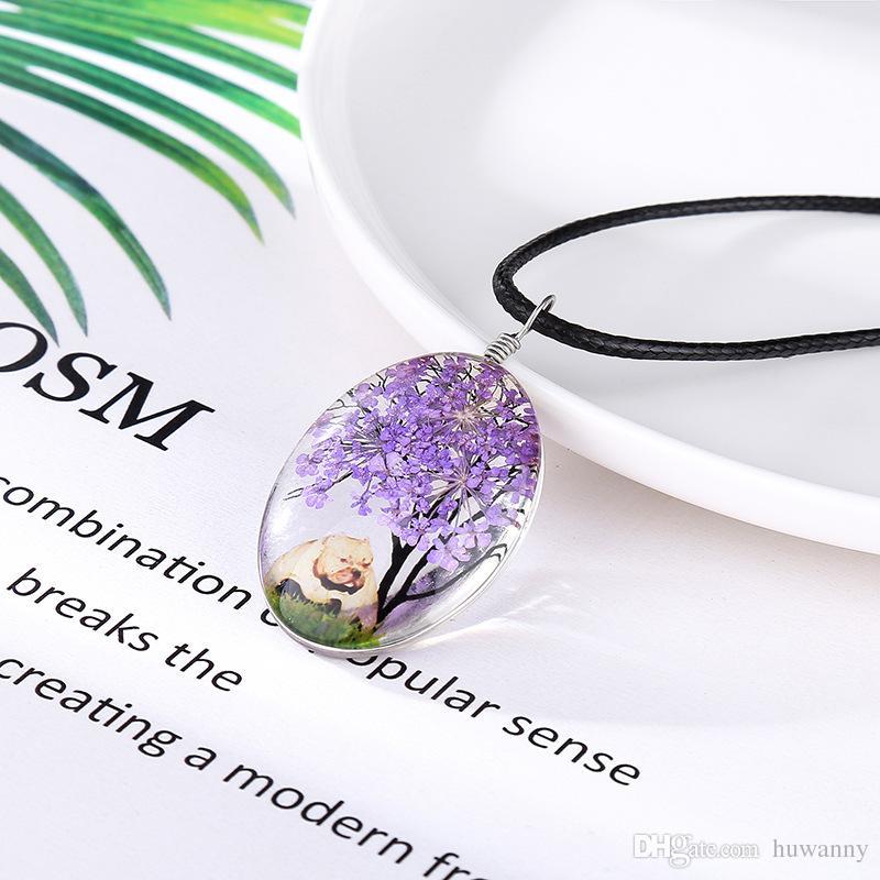 Wünschen Sie Halskette Halsketten der heißen Verkaufs Getrocknete Blumen-Leben-Baum-Kristallanhänger Silber Kette Halsketten für Frauen-Mädchen Schmuck Großhandel 0623WH