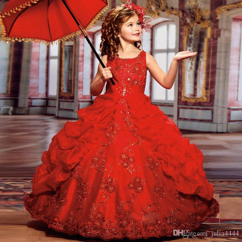 Abiti da spettacolo della ragazza cute toddler Sparkle Beauty con perline Ball gown Satin Lace Little Kid Child dress Flower girls Dresses