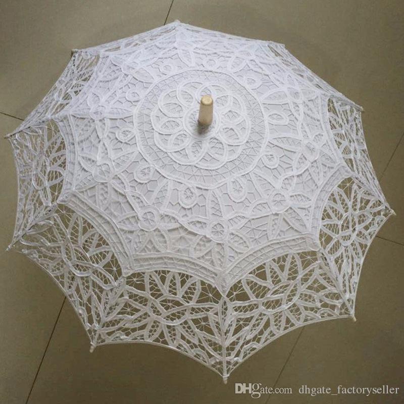 Ombrello da parasole in pizzo vintage party da sposa pizzo nuziale in pizzo da sposa a mano ombrelloni bianco e beige ricamo ricamato ricamare parasole