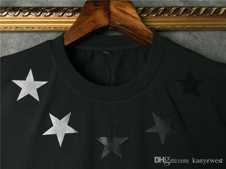 Мужская футболка 2019 года с коротким рукавом с длинными рукавами, черная белая пятиконечная звезда, футболка, мужская футболка с круглым вырезом