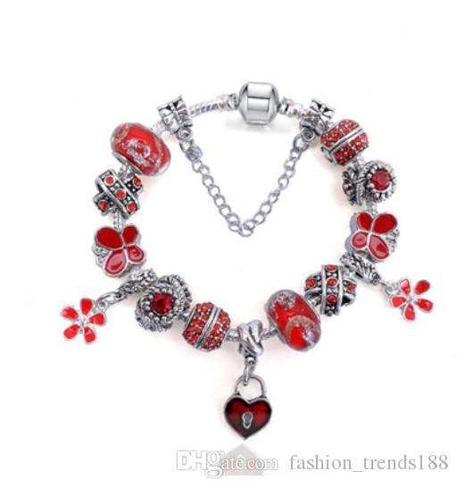 9b0c20cf4475e 925 Sterling Silver Red Murano Glass & Crystal Flower European Charm Beads  Heart Dangle Gem Safety Chain Fits Charm Pandora Style Bracelets