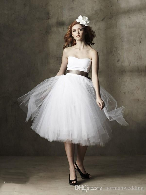 2017 Simple Ball Gowns Wedding Dresses Short Tulle Puffy Cheap