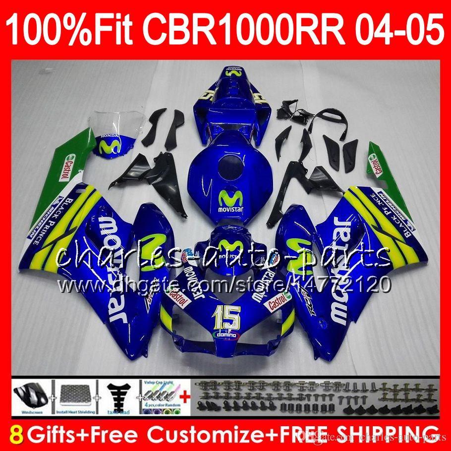 Corps d'injection pour HONDA CBR 1000RR 04 05 Carrosserie CBR 1000 RR Movistar Bleu 9HM16 CBR1000RR 04 05 CBR1000 RR 2004 2005 Kit de carénage 100% Fit