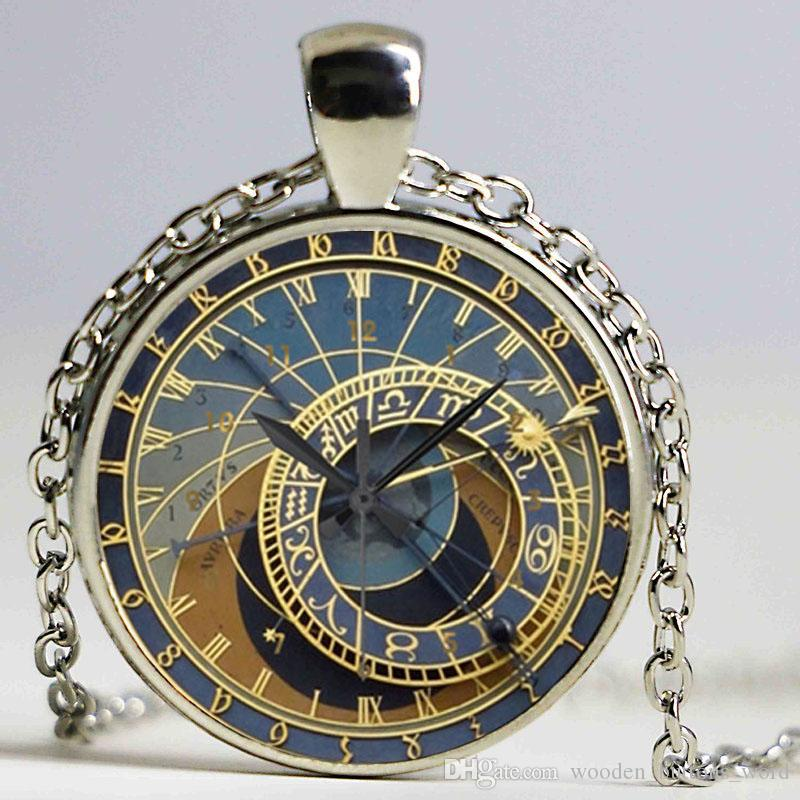 Steampunk Clock Art Picture Pendant Necklace New Glass Necklace Steampunk Clock Cool Necklaces For Men Cheap