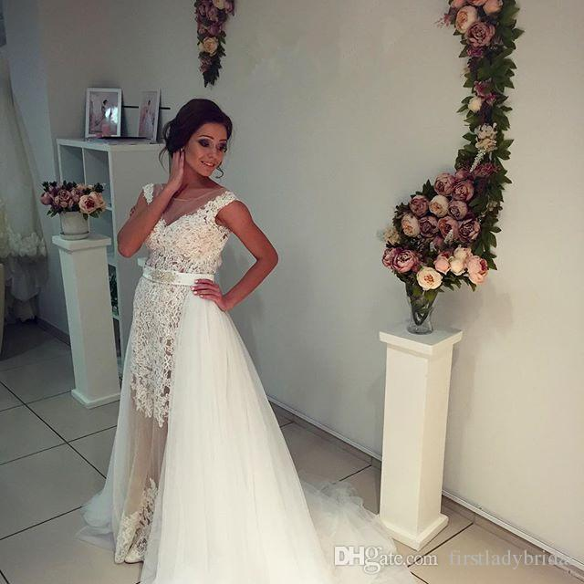 Tulle Overskirt Wedding Dresses Mermaid Bateau Neck Simple: Discount Over Skirt Wedding Dresses Lace And Tulle Sheer