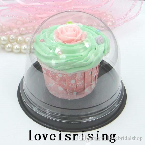 Lowest Price--100pcs=50sets Clear Plastic Cupcake Cake Dome Favors Boxes Container Wedding Party Decor Gift Boxes Wedding Cake Boxes