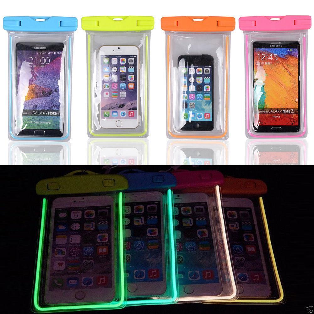 Funda impermeable a prueba de agua de Luiminous Funda para teléfono de buceo para iPhone 7plus 7 Samsung s8pus s8 Universal