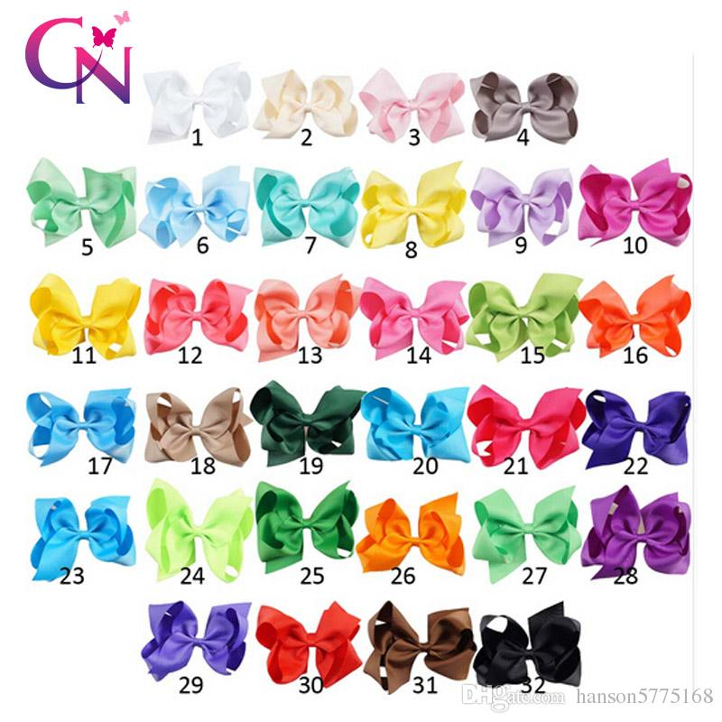32 Colors 6 inch Hair Bow Plain Color Grosgrain Ribbon Boutique Hair Bows with Alligator Clips