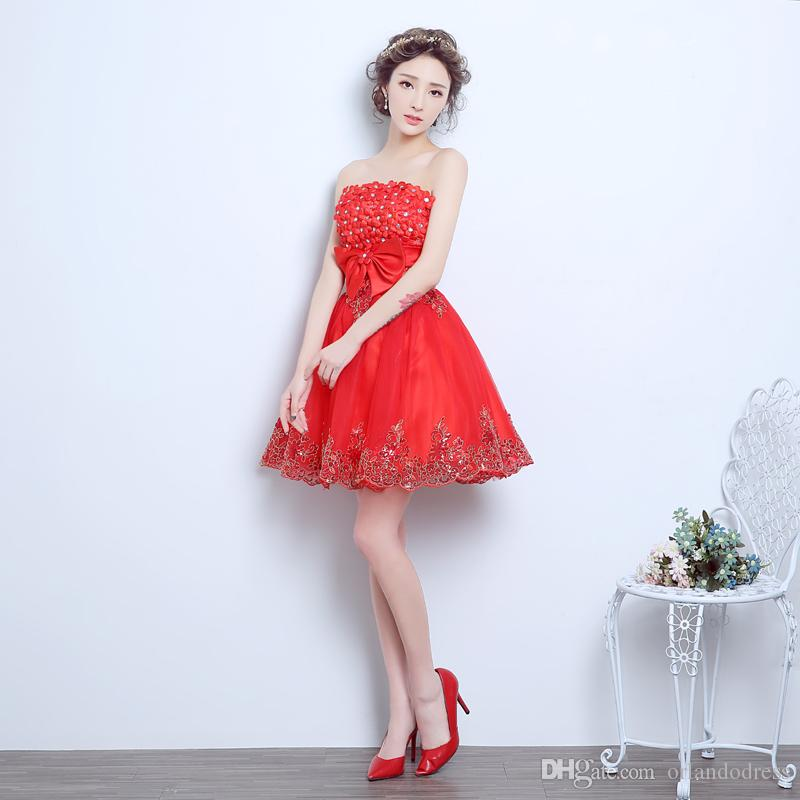 Brand New Evening Dresses with Bow Elegant Girls Women Bride Gown Fashion Red Short Ball Prom Party Homecoming Graduation Formal Dress