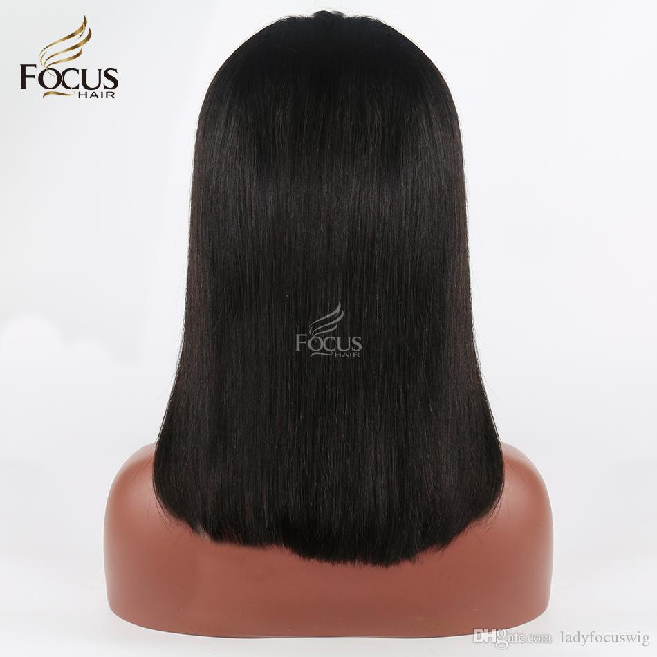 Glueless Full Lace Human Hair Wigs For Black Women Silky Straight Front Lace Indian Virgin Hair Short Bob Wig Half Wigs