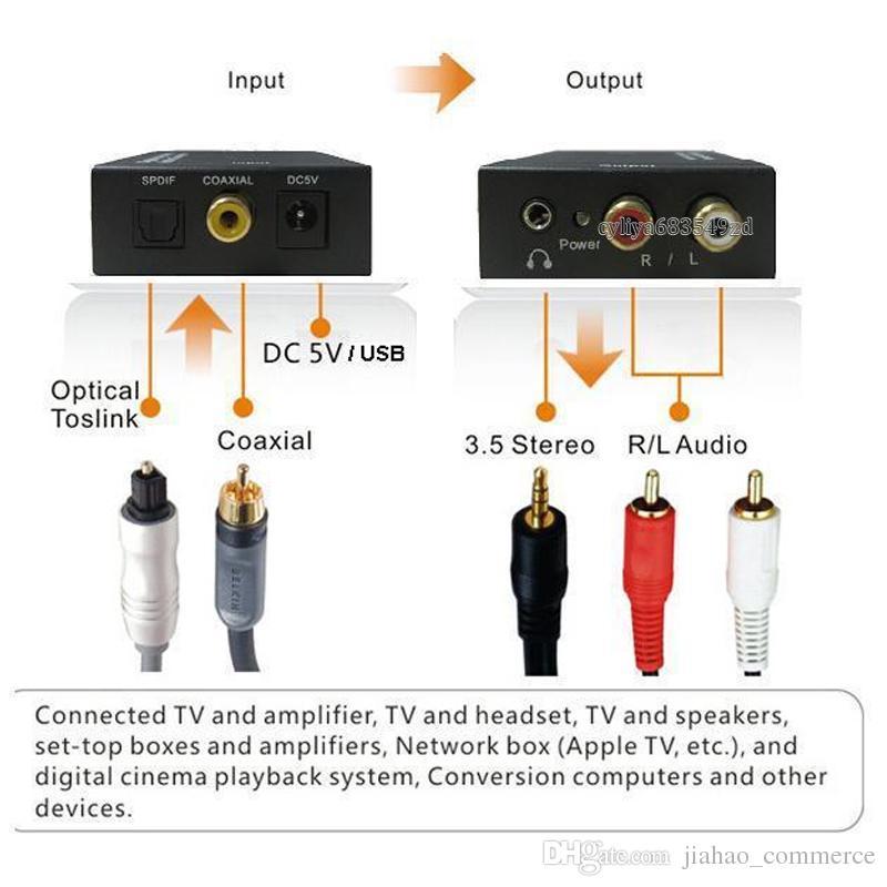 Digital Adaptador Optic Coaxial RCA Toslink Signal to Analog Audio Converter Adapter Cable