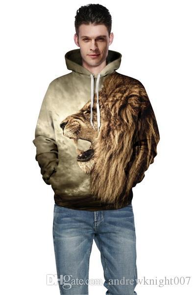 Hombres Mujeres Sudaderas con capucha Hip Hop Sudadera Divertido 3D Tiger Lion Leopardo Marca de moda Más Tamaño Sudadera con capucha 3XL hombre Chándal Unisex Jerseys