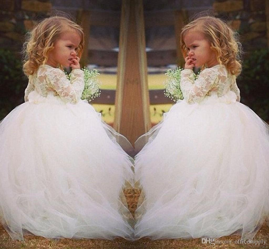 323f04c58 Vintage Lace Flower Girl Dresses Long Sleeves Princess Jewel Lace ...