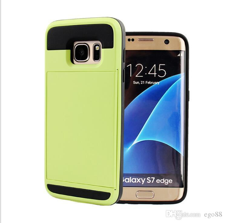 For Iphone 6 6 plus 7 7 plus Slid Card Holder Mobile Back Cover Cell Phone Protector Case Dirt-resistant