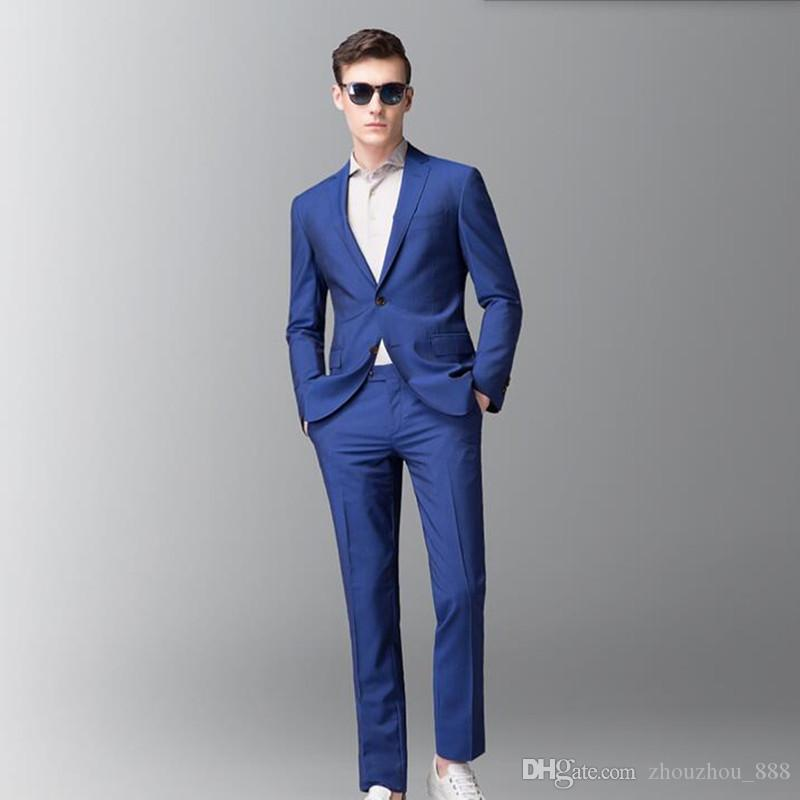 Men Suits Royal Blue Wedding Tuxedos Latest Coat And Pant Design Groomsman Party Suitsjacket Pants