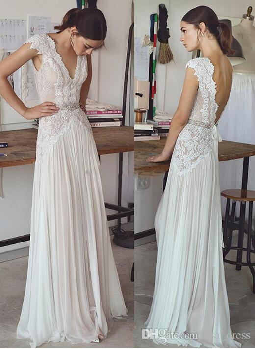 Grosshandel Vintage Spitze Perlen Brautkleider 2017 Einfache A Linie