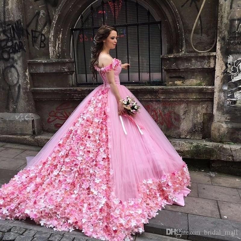 Großhandel Saudi Arabien Prinzessin Pink Brautkleid 2017 ...