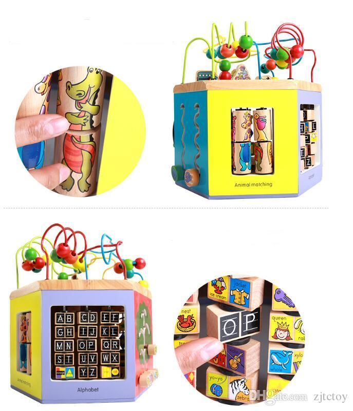 Ahşap Bebek Oyuncakları 8 In 1 Çok fonksiyonlu Hexahedral Bilge Kutusu Etrafında Boncuk Renk Hayvanlar Tanıma Erken Öğrenme Eğitim Ahşap Oyuncaklar Hediye