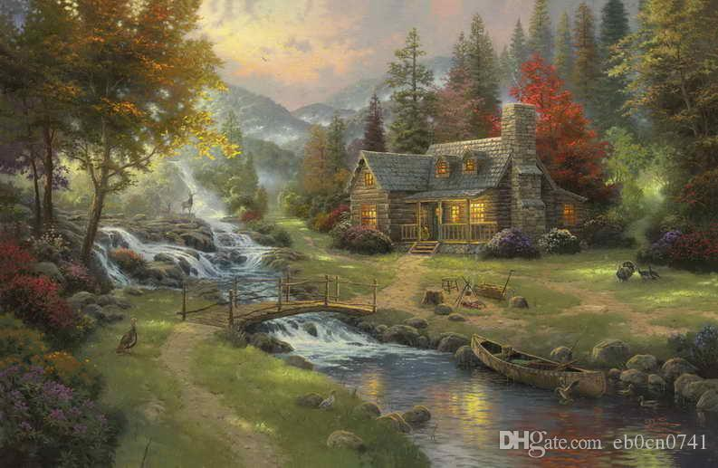 Mountain Paradise Thomas Kinkade Oil Paintings Art HD Print On Canvas Decor No Frame Home Decoration