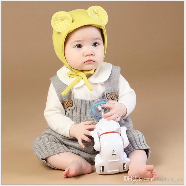2017 جديد ربيع الخريف الرضع طفل أكمام محبوك السروال القصير طفل سترة الحمالة السراويل أطفال وزرة حللا الفتيان الفتيات قطعة واحدة