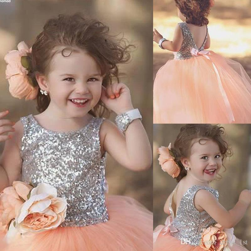 Cute 2018 silver sequined top peach tulle ball gown flower girl cute 2018 silver sequined top peach tulle ball gown flower girl dresses for weddings with hand made flowers sash girls pageant gowns en11212 black dresses mightylinksfo