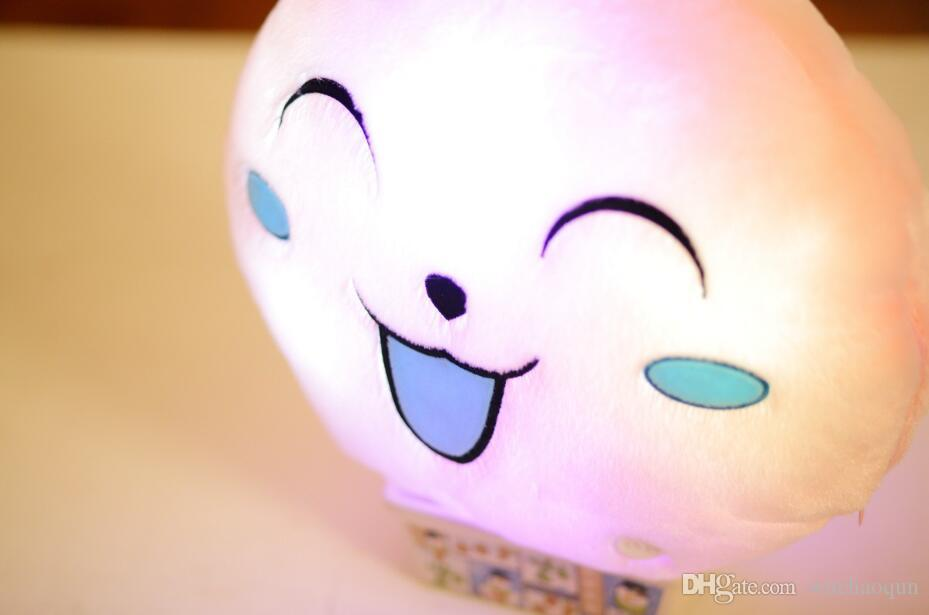 33cm Creative Light Up LED Smile Face Stuffed Plush Toy Colorful Glowing Simle Pillow Christmas Gift for Kids