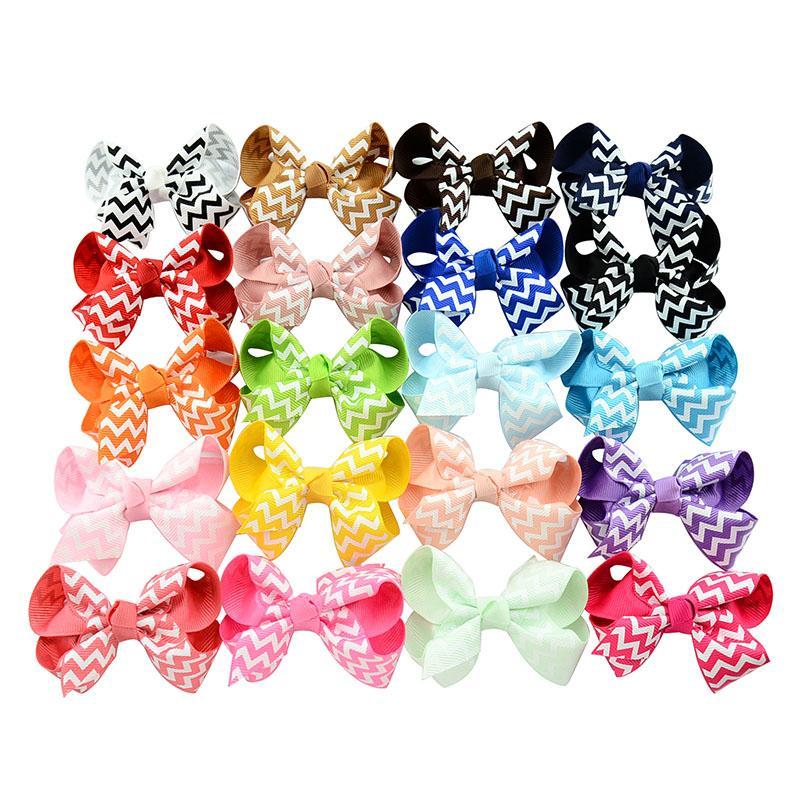 Forcelle arco del bambino ragazze nastro del grosgrain onda fiocchi con clip boutique archi forcine le neonate bambini bambini accessori capelli kfj98