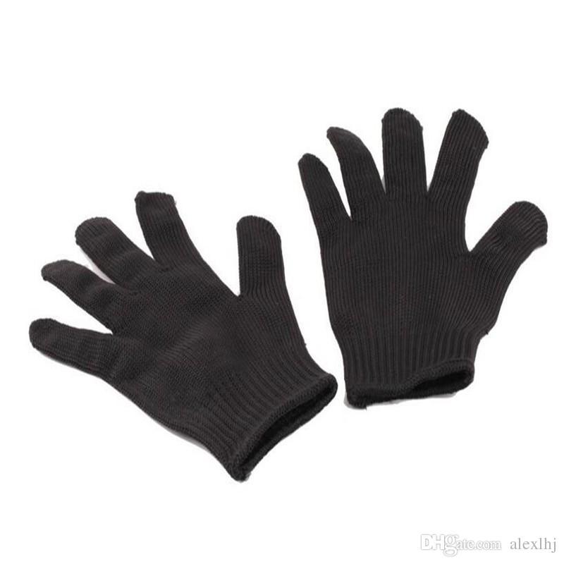 Seguridad 5A grado Anti-corte antideslizante caza al aire libre guante de pesca resistente al corte filete protector cuchillo filete hilo tejido negro