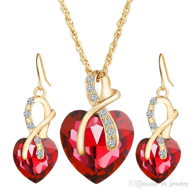 Orecchini da donna in lega di zirconi austriaca in lega di cristallo orecchini a forma di cuore orecchini a forma di cuore orecchini da donna gioielli da cerimonia nuziale di lusso