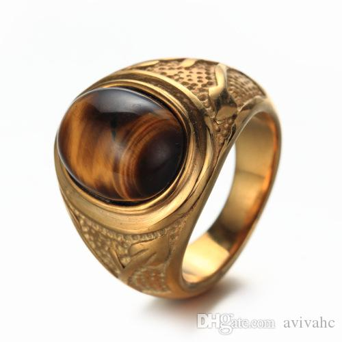 2019 Men S Stainless Steel Retro Tiger Eye Ring Silver And