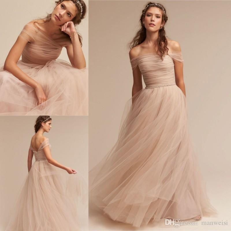 9ff008143 Compre Off The Shoulder 2017 Bhldn Bridesmaid Dresses Barato Tulle Long  Beads A Line Junior Beach Wedding Dress De Manweisi