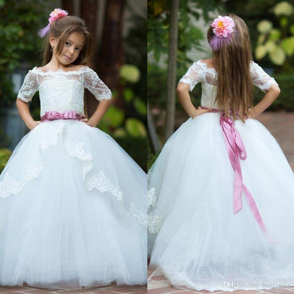 Pretty white ivory junior bridesmaid dress with belt long tutu pretty white ivory junior bridesmaid dress with belt long tutu gown teens formal wear little girls prom pageant dresses for party wedding bridesmaid flower ombrellifo Image collections