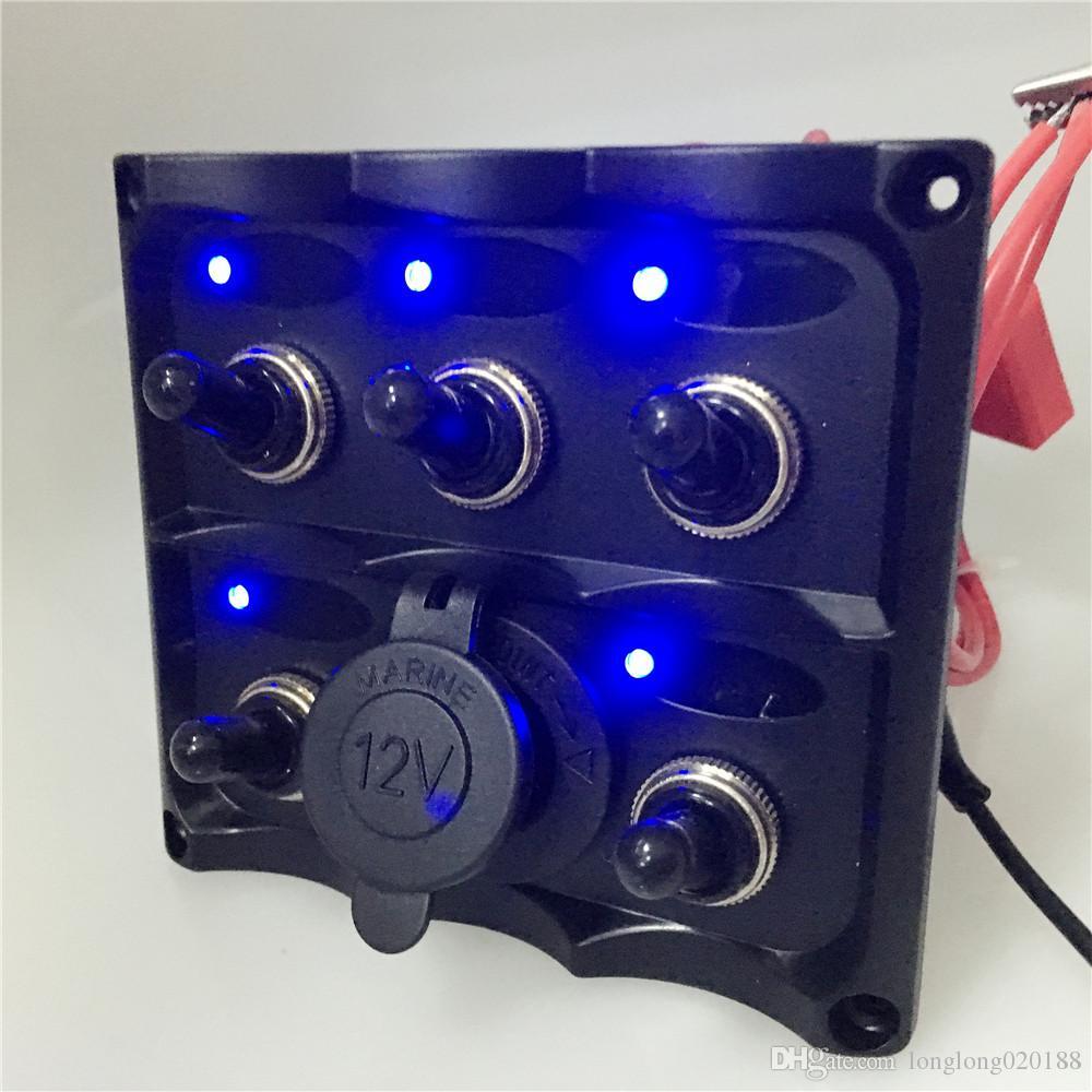 Marine Electric Blue LED Interruptor de palanca del Panel 5 Gang con voltímetro Socket de voltaje de alimentación USB Panel DIN 12V