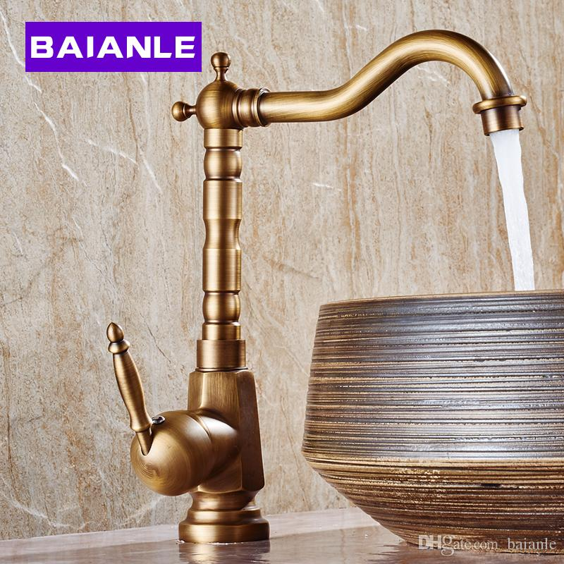 2018 Antique Copper Bathroom Faucet Hot And Cold Heightening Counter Basin  Faucet Retro Copper Rotatable From Baianle, $81.18 | Dhgate.Com