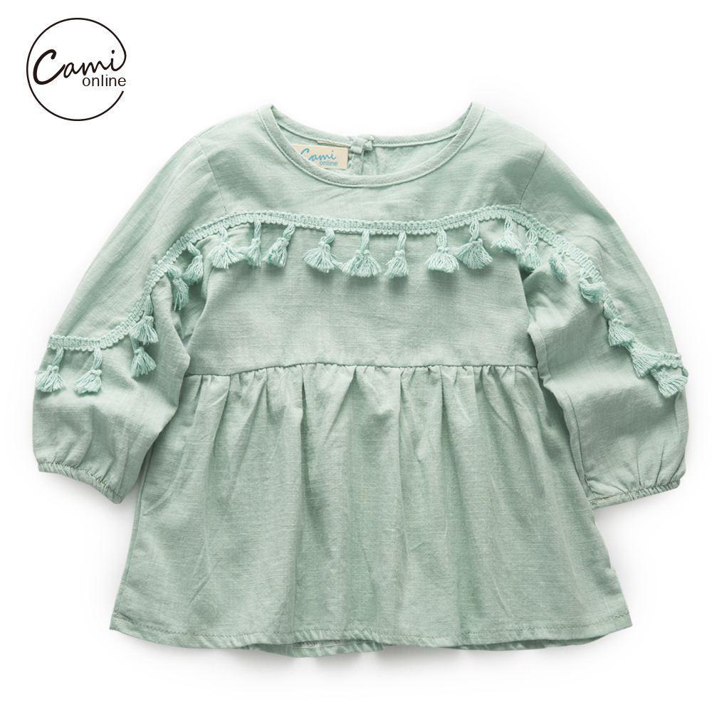 2018 Cute Baby Girl Dresses Spring Autumn Tassel Long Sleeve Solid ...
