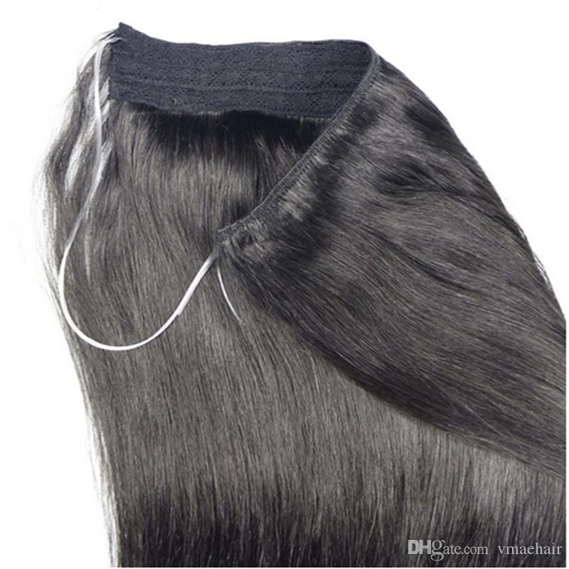 Silky Straight Halo Flip In Human Hair Extensions 613 4 1bbug