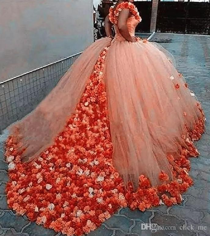 Coral Off The Shoulder Ball Gown Prom Dresses With Handmade Flowers ...