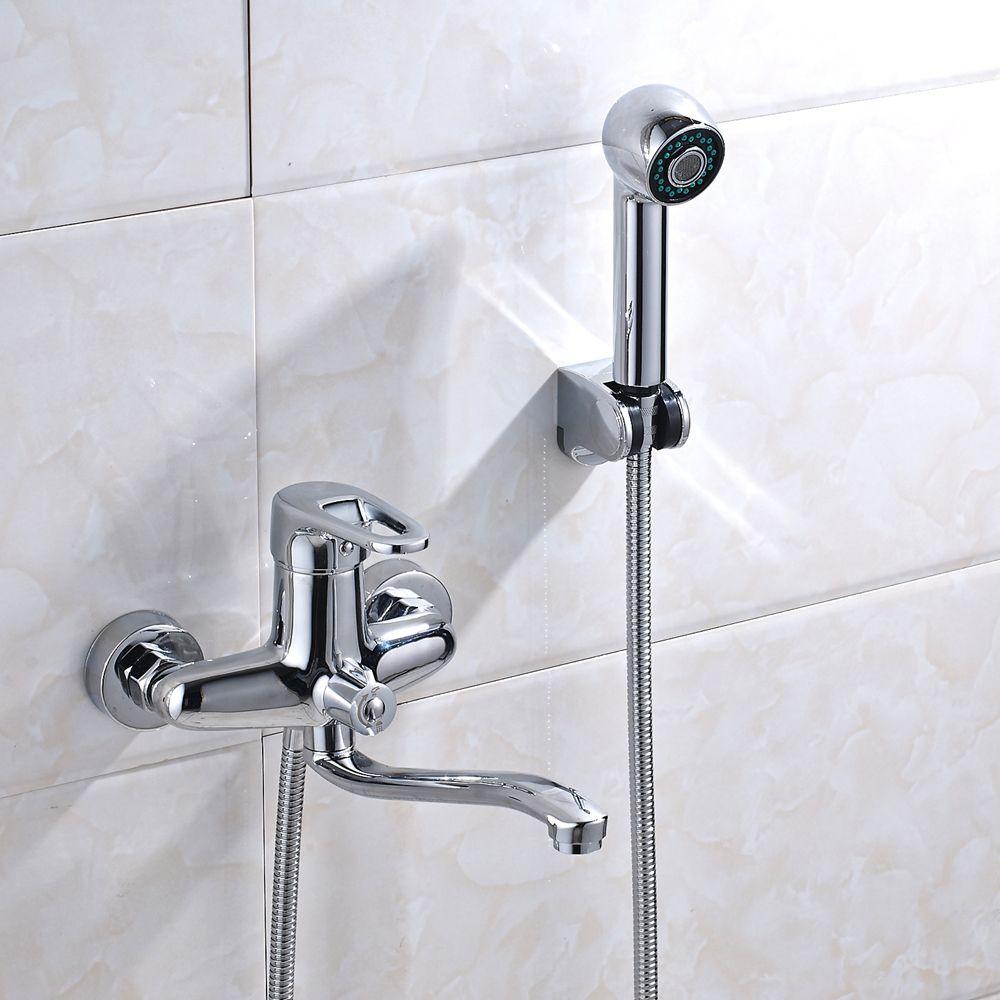 2019 Chrome Shower Faucet Valve Mixer Tap Tub Spout Hand Shower