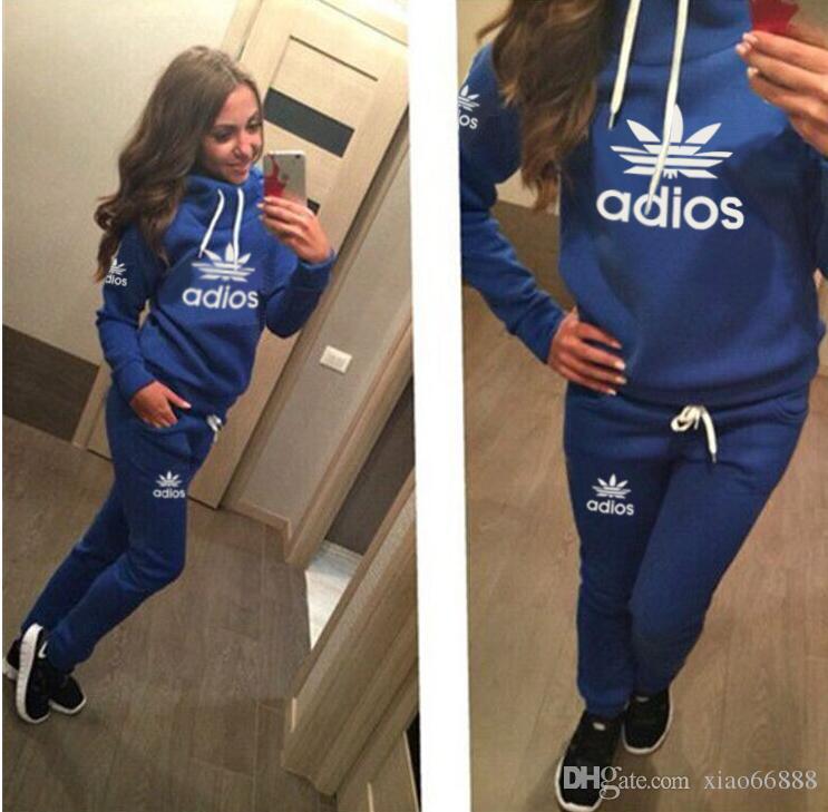 Supf Yeni Kadınlar aktif set eşofman Hoodies Sweatshirt + Pantolon Koşu Spor Eşofman 2 Parça koşu setleri survetement femme giyim