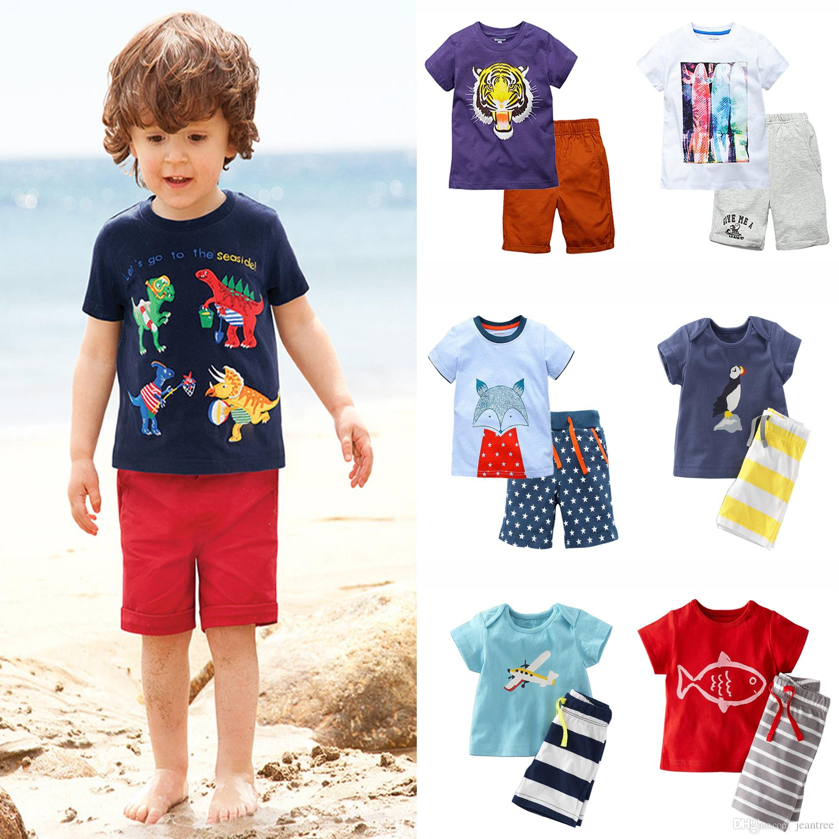 Summer 2017 Kids Clothing Sets Cotton Short Sleeve Baby Boy Fox