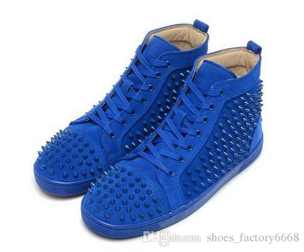 d370a0ce27f Cheap Red Bottom Sneakers For Men Women With Spikes Black Suede Fashion  Casual Mens Shoes