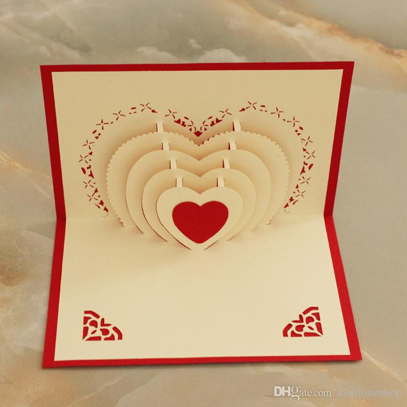3d Love Heart Greeting Card With Envelope For Valentine S Day