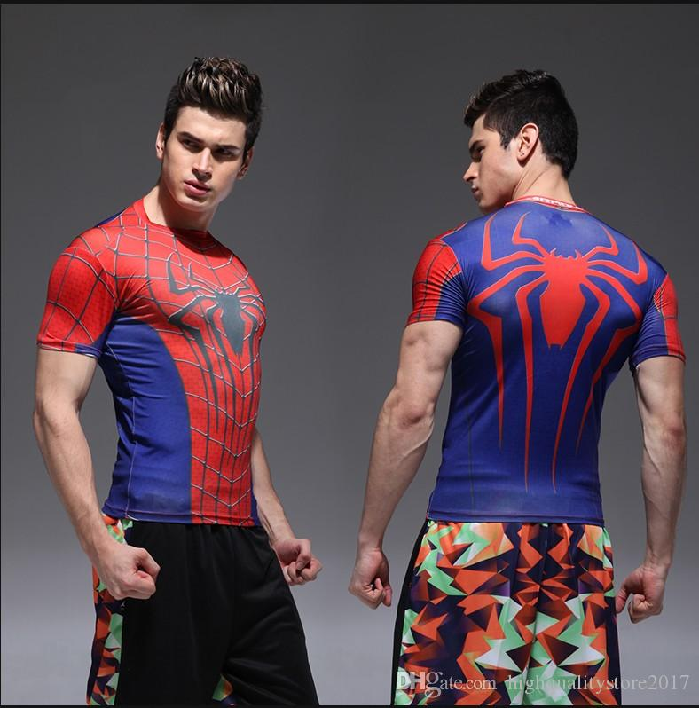 2016 2017 tights Rugby jersey fitness workout clothes Iron man captain America superman batman spiderman Cool running Ronaldo Rugby Jerseys